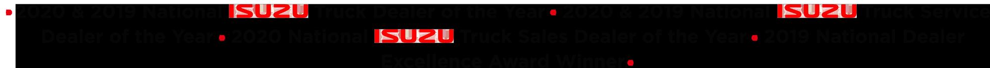 2020 & 2019 National Truck Dealer of the Year 2020 & 2019 National Truck Service Dealer of the Year 2020 National Truck Sales Dealer of the Year 2019 National Dealer Excellence Award Winner